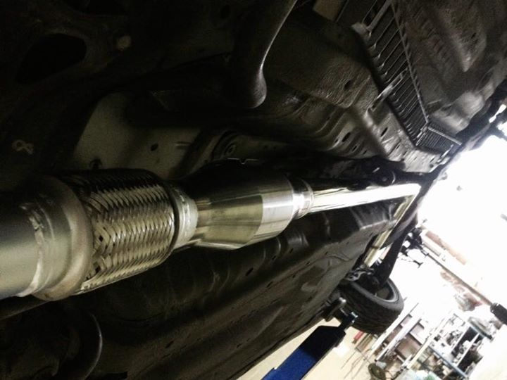 "Custom made and fitted for maximum ground clearance. Cat back 2.5"" exhaust with 200cell high flow cat. #honda  #civic #ek"